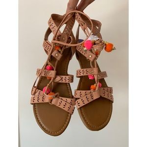 Madden Girl Bailee Pom Pom lace up Sandals